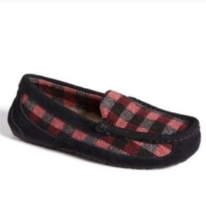 Ugg Lasso Plaid Black Red Check Moccasin Slippers